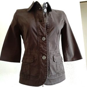 ESCADA SPORT Brown 3/4 Sleeve Couture Jacket Sz:S